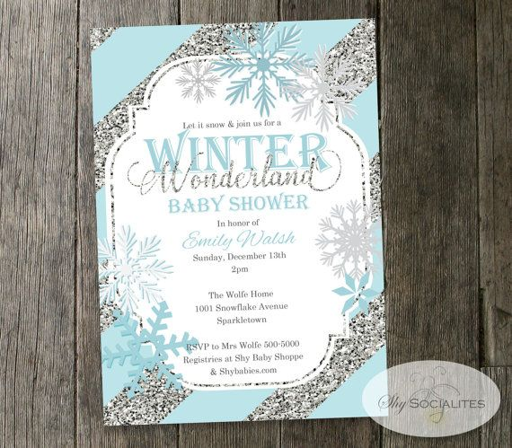 Wonderful Winter Wonderland Baby Shower Invitation | Snowflakes, Blue U0026 Silver  Glitter Stripes | INSTANT DOWNLOAD Editable Text PDF | Shower Invitations  And Baby ...