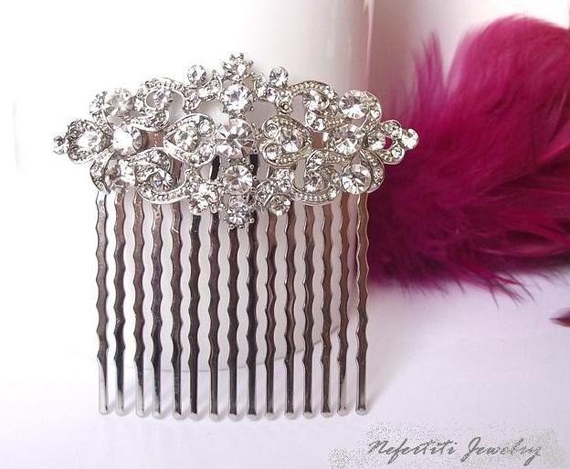 wedding hair comb swarovski crystal hair by nefertitijewelry2009, $29.90