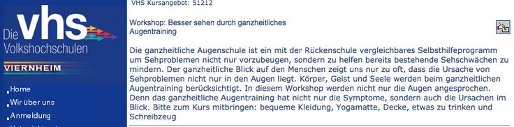 """Schnupper-Workshop """"Augentraining"""" am 17.2 in der VHS Viernheim"""