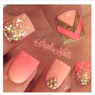 Coral-Gold-Bright Stephs Nails