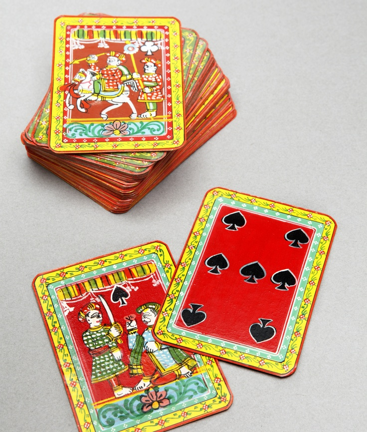By purchasing and playing with these handpainted traditional Ganjifa-style cards, you are preserving an age-old style of card painting from India that is now a dying art. A truly unique collectors' item, you won't find these anywhere else. $169.95 on MyMela.com