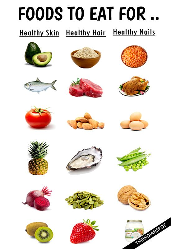 10 Foods for Healthy Hair and Skin Contrary to what you may believe, you don't need to spend a fortune on cosmetic products in order to achieve healthy hair and skin. If you want to prevent aging, have glowing skin and stronger hair, it's important to consume the right vitamins.