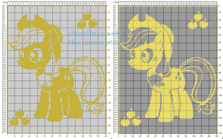 Schema copertina neonato uncinetto filet con Applejack personaggio My Little Pony