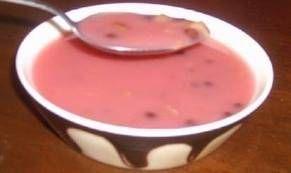 Watergruwel watergruel (Dutch dessert with pearl barley, raisins, cinnamon and red currant juice)
