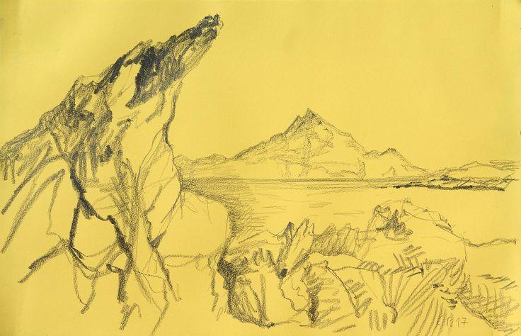 Landscape, Sithonia, pencil on paper