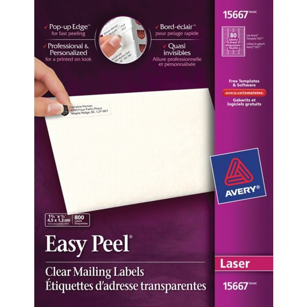 Avery Easy Peel 15667 Return Address Label Clear Staples