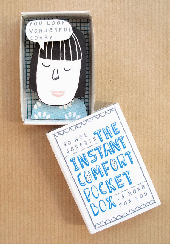 """Some days... you just need a little bit of consolation."" Ingenious!!! The Instant Comfort Pocket Box  $11.49"