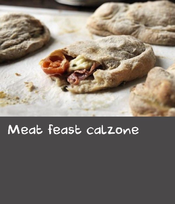 Meat feast calzone |      Make your own dough for this folded pizza recipe. Simon Rimmer serves it with mozzarella, capers and meats such as salami, prosciutto or speck.
