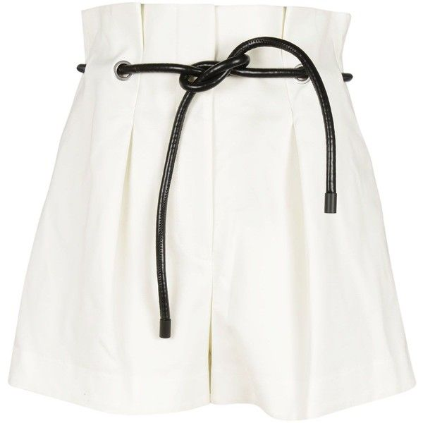 Origami Shorts ($320) ❤ liked on Polyvore featuring shorts, white, origami shorts, eyelet shorts, 3.1 phillip lim shorts, pleated shorts and 3.1 phillip lim