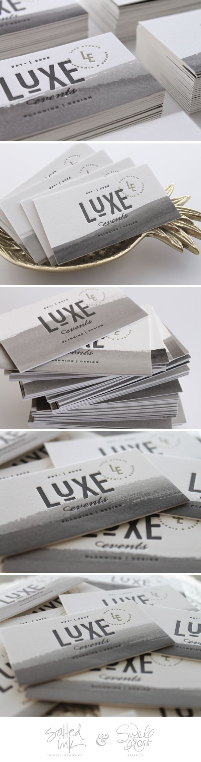 Luxe Events Business Card collaboration with Swell Press Paper...