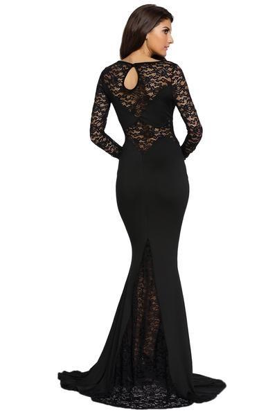 a56fe77a8437 Black Long Lace Sleeve Mermaid Princess Prom Dress
