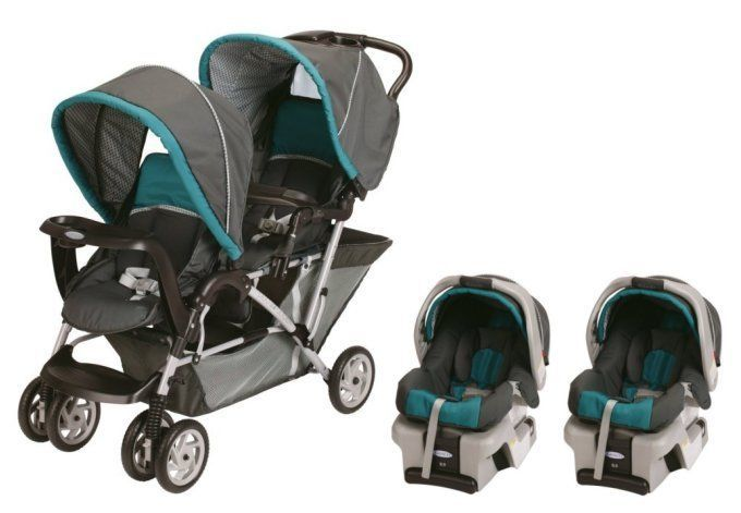 Graco DuoGlider Folding Double Baby Stroller w/ 2 Car Seats Travel Set|Dragonfly #Graco