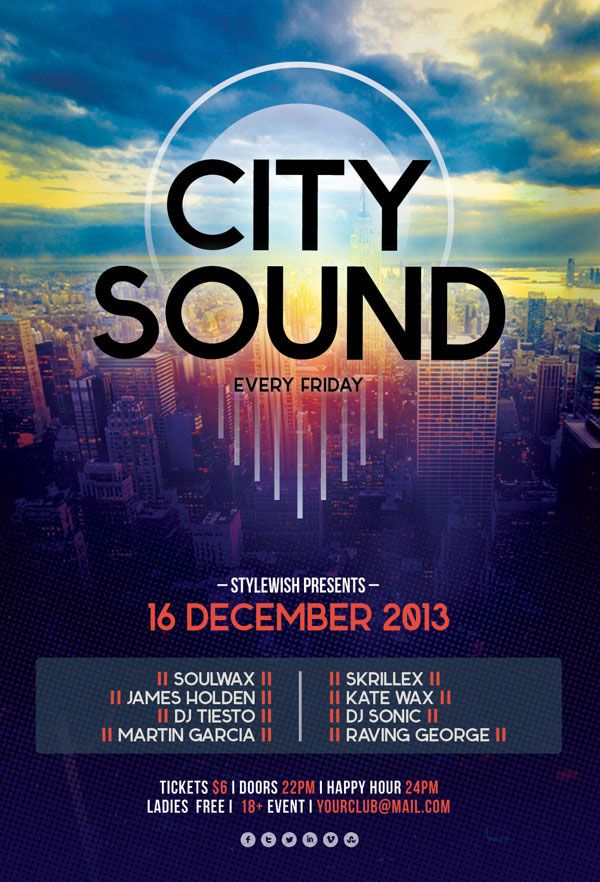 City Sound Flyer  #flyertemplates #flyerdesigns #psdflyers #partyflyers #eventflyers