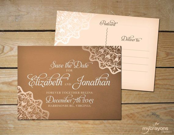 rustic lace save the date ideas | Rustic Burlap Lace Wedding Save the Date Postcard // DIY Printable ...