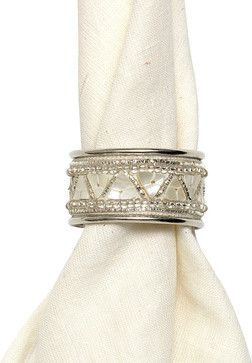 Pearl and Silver Mosaic Napkin Ring transitional-napkin-rings