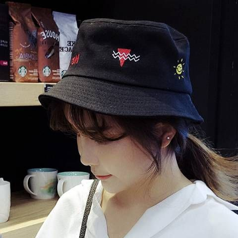 Lovely sun embroidered hat for girls geometric design black bucket hat