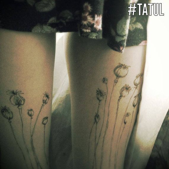 poppy, poppy tattoo, tattoo tights Amazing design. 20 DEN Pantyhose with entirely hand-painted motifs tattoo effects of the method based on