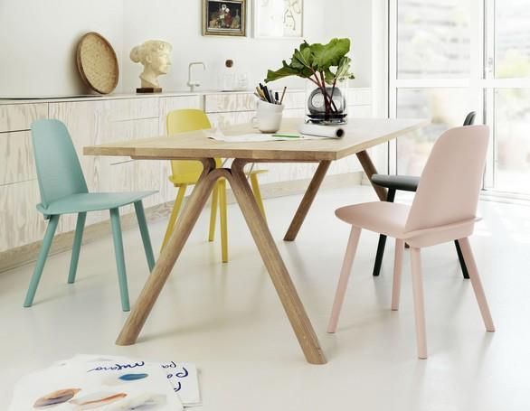 The pastel colours of the chairs
