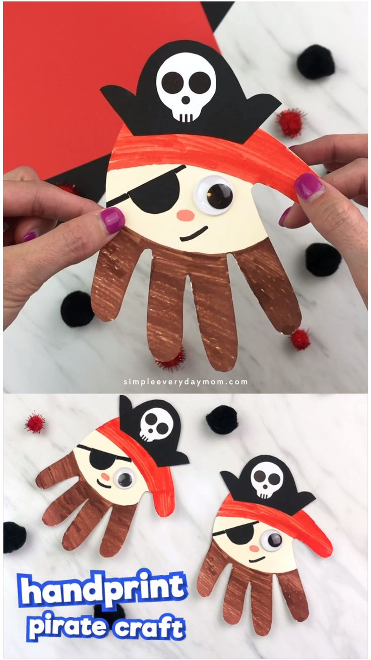 Handprint Pirate Craft For Kids