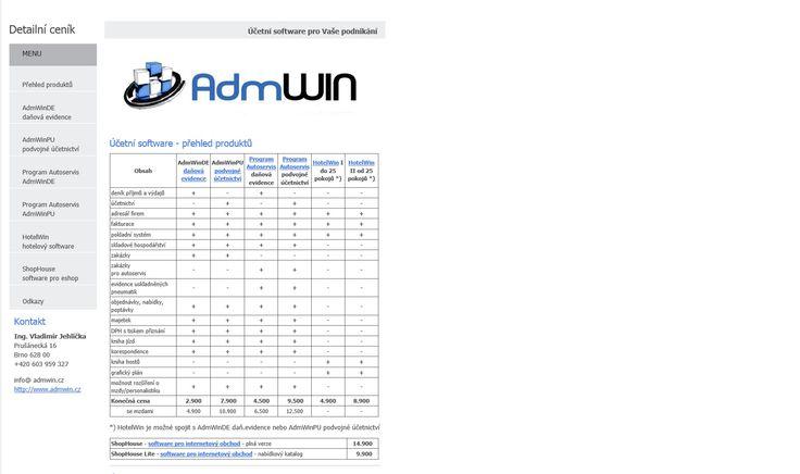 Ceník účetního software AdmWin, více na http://www.software-ucetni.cz