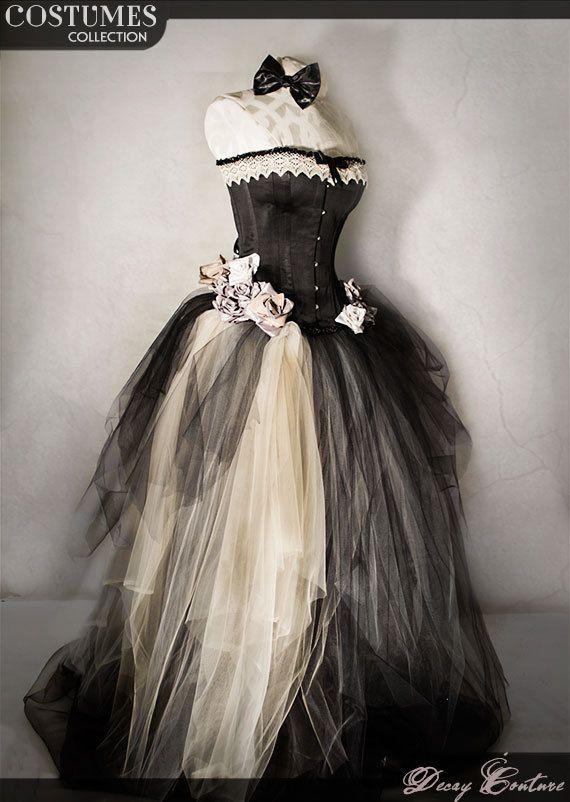 Abito da sposa con CORSETTO VITTORIANO neri abito di DecayCouture