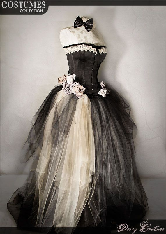 VICTORIAN BLACK corset wedding dress  full lenght by DecayCouture