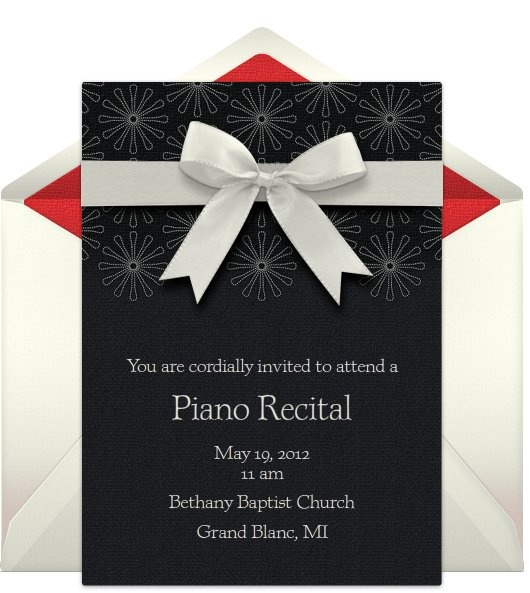 free e-invitation for upcoming piano recital