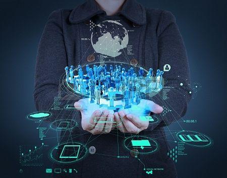 homme d'affaires travaillant avec la nouvelle structure de réseau social de salon de l'informatique moderne en tant que concept Banque d'ima...