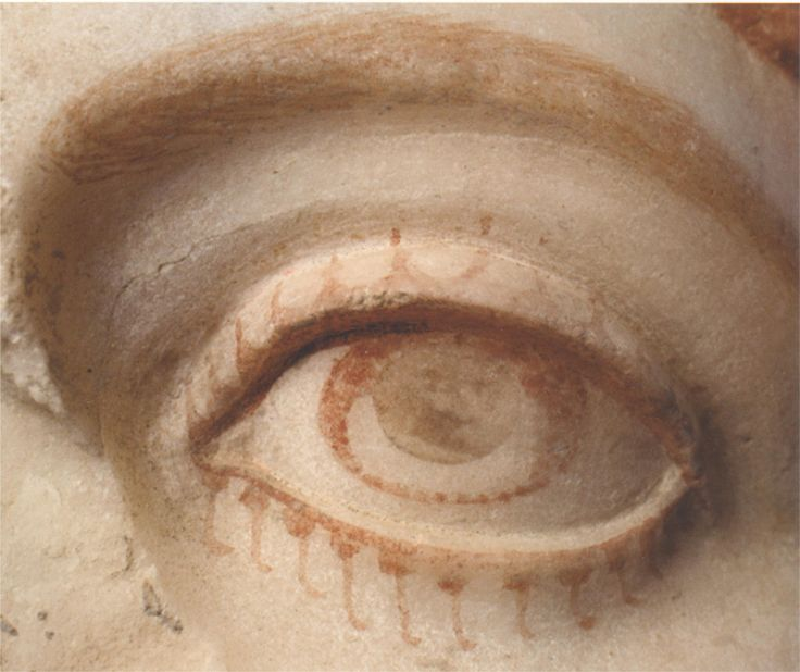 The eye of a marble statue from Herculaneum, with surviving paint. Roman before 79 AD.