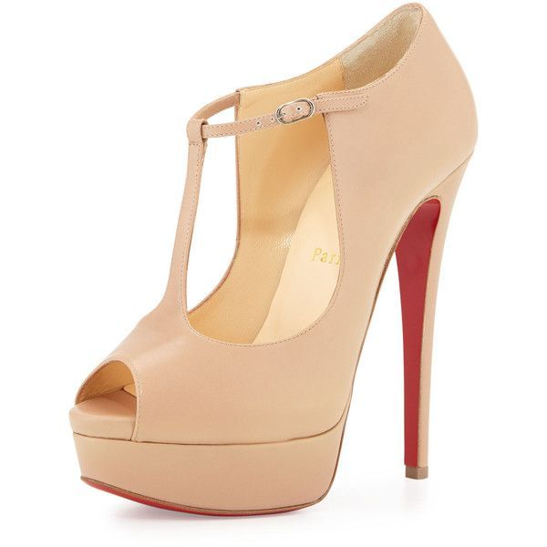 Christian Louboutin Alta Poppins T-Strap Red Sole Pump ($995) ❤ liked on Polyvore featuring shoes, pumps, nude, shoes sandals classic, ankle strap pumps, leather peep toe pumps, t strap pumps, nude shoes and ankle strap peep toe pumps
