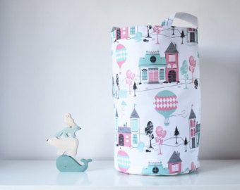 XXL Large Toy storage basket,Nursery Storage, Mint Pink Cotton Basket,House Baloon print, Fabric storage bin, Nursery storage, Nursery decor