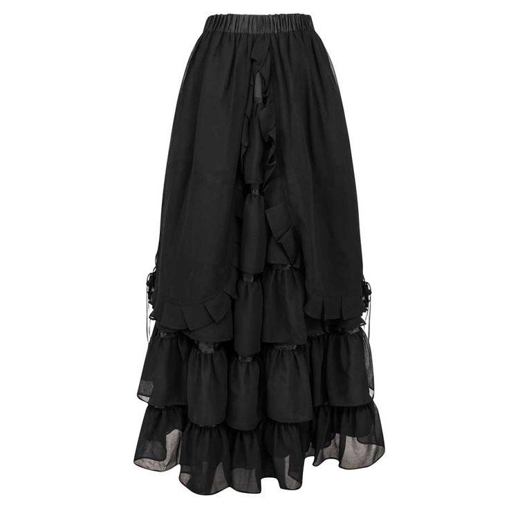 VG London Lange gelaagde Victoriaanse rok zwart - Gothic   Attitude Ho