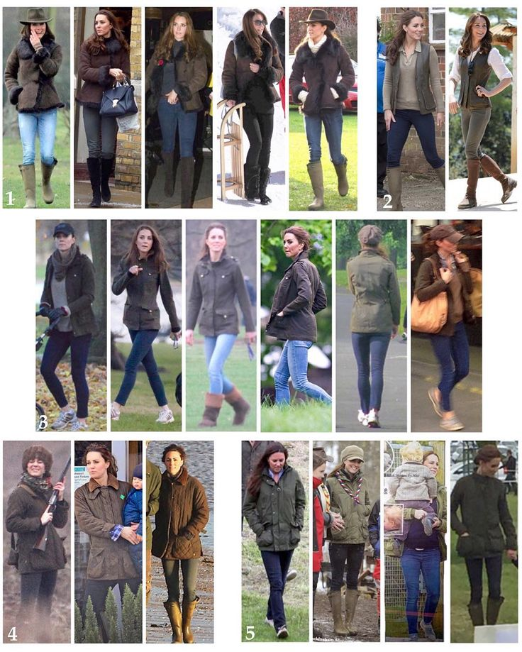 Kate in her casual country outerwear worn on multiple occasions: 1: L.K Bennet Toscana Sheepskin 'Darwin' jacket - £695 2: Really Wild Clothing 'Nubuck Leather Gilet' - £495 3: Barbour Ladies Defense Jacket - now £159 4: Barbour Quilted Jacket owned since 2006 - £745 5: Barbour's Ladies Linhope/Belford Jacket owned since 2009  Kate is also often seen wearing her £300 leather lined 'Vierzon' le Chameau wellies. There is also a cotton lined version available for £75.