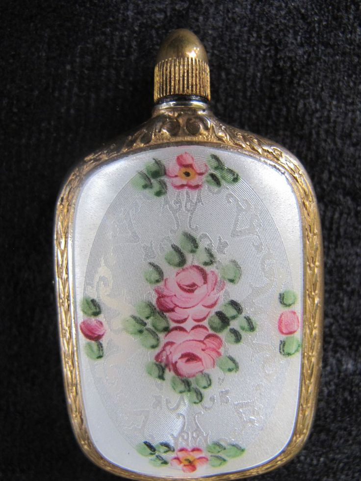 Vintage White Guilloche Enamel with Gilt Metal Floral Roses Design Perfume Flask