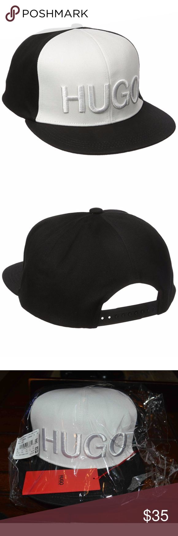 HUGO Boss Logo Snapback Fashion Baseball Cap Hat HUGO Boss Logo Snapback Fashion Baseball Cap Hat Black White New  Snapback Closure Contrasting Color Big HUGO Logo New with Tags Great Chance to Own for Less Hugo Boss Accessories Hats