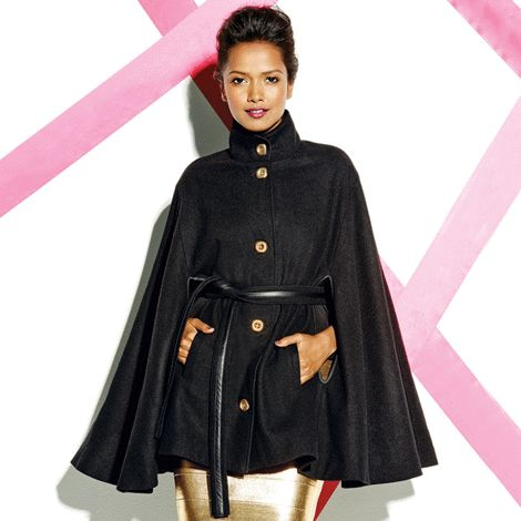 Close Ranks Cape Jacket reg.  $78.00 Features a high neck, faux-leather trim, a matching tie belt and brushed gold tone square buttons down the front.  www.Facebook.com/shopavonwithdeon