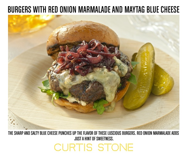 Recipes mains burger with red onion marmalade maytag blue cheese aspx