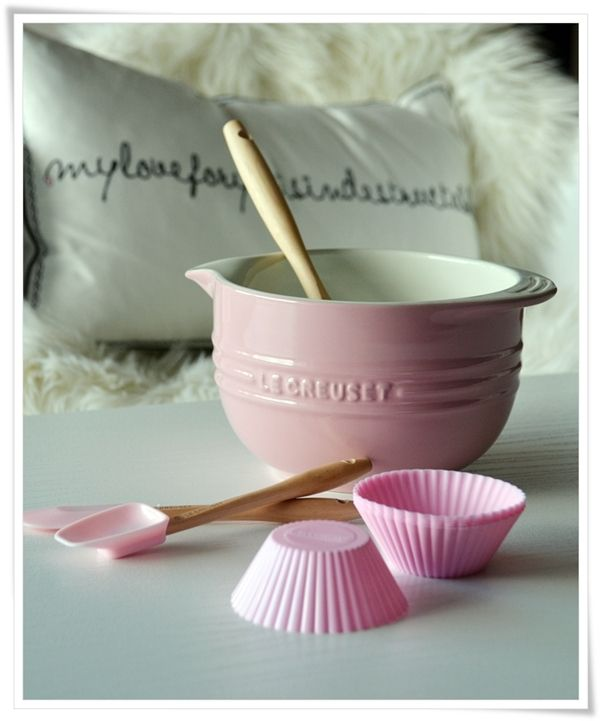 I want my baking set to be girly and my cookware more masculine; pink v slate or a green/blue
