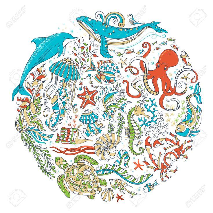 Круг вектор набор SEALIFE животных и растений на белом фоне. Кит, дельфин, черепаха, рыба, морские звезды, осьминоги, крабы, раковины, медузы, морские водоросли. Подводный морской жизни. Красочный мультяшный вектор.