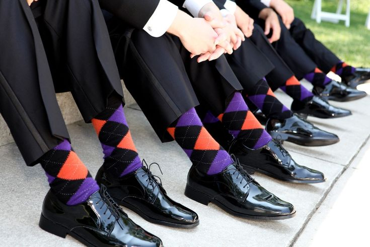 The groomsmen wore purple, pink & gray argyle and striped socks to match the purple wedding. Description from pinterest.com. I searched for this on bing.com/images Repinned By#www.ncmusic.com
