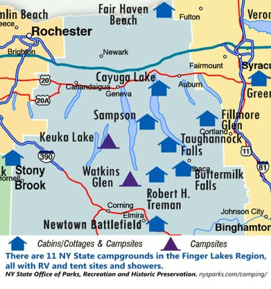 There are 11 NY State campgrounds in the Finger Lakes Region. NY State Office of Parks, Recreation and Historic Preservation. Website: http://nysparks.com/regions/finger-lakes.    View the NY State Parks Camping Guide 2012 online:  http://www.nxtbook.com/nxtbooks/nysparks/ny_campingguide2012/    Or, download the free NY State Parks Camping Guide 2012 PDF (about 100 little pages):  http://pages.nxtbook.com/nxtbooks/nysparks/ny_campingguide2012/offline/nysparks_ny_campingguide2012.pdf