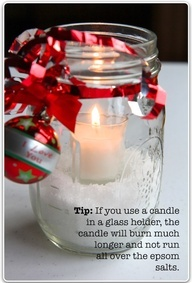 "Snow candles candles in mason jars with Epsom salt on the bottom. Looks really beautiful! I had these around the table for our date night in the backyard! It was beautiful and romantic!"" data-componentType=""MODAL_PIN"