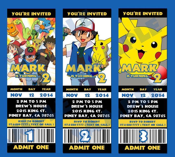 pokemon online birthday invitations