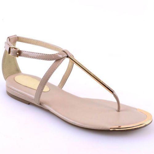 LADIES WOMENS T-BAR SUMMER SANDALS GOLD TRIM BUCKLE FLAT SANDAL SHOES SIZE 3-8 | eBay