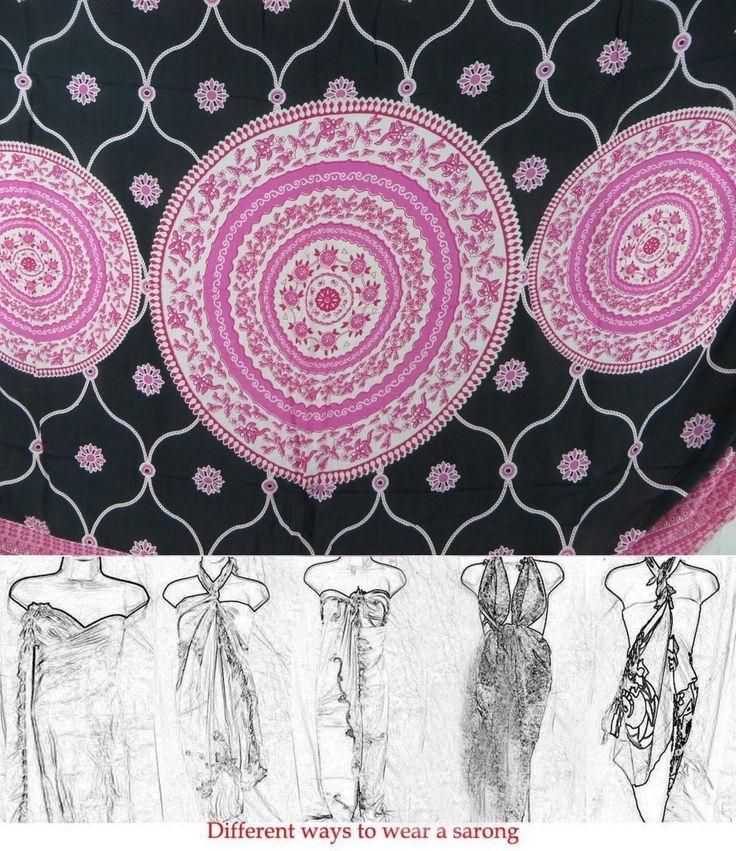 Indonesia Handmade Shawl Scarf Pink Black Sarong Mandala Circle