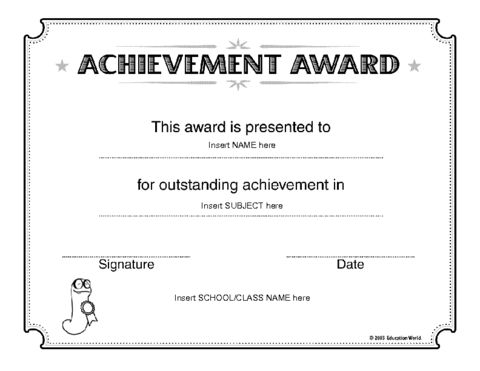 Education World: Certificate of Achievement Award Template