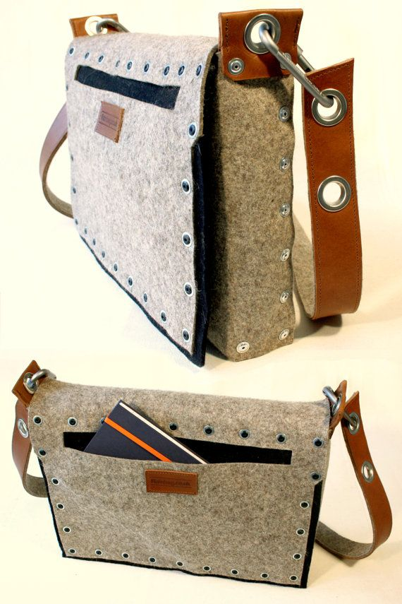 felt satchel with industrial pop rivet pocket and by Rambag