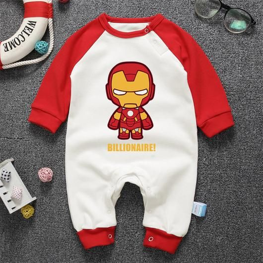 Assorted Superhero Long Sleeve Jumpsuits - Thor, Ironman, Hulk, Spiderman, Capt America