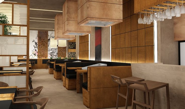 YAMATO Japanese restaurant in Tirana - Albania Traditional polished mortar application on floor and wall   #Kourasanit #PolishedMortar #mortars #WhenNatureDecorates #interiordesign #architecture #renovation #chic #bar #fillercoating #design #art #architect #architects #interiors #deco #decoration
