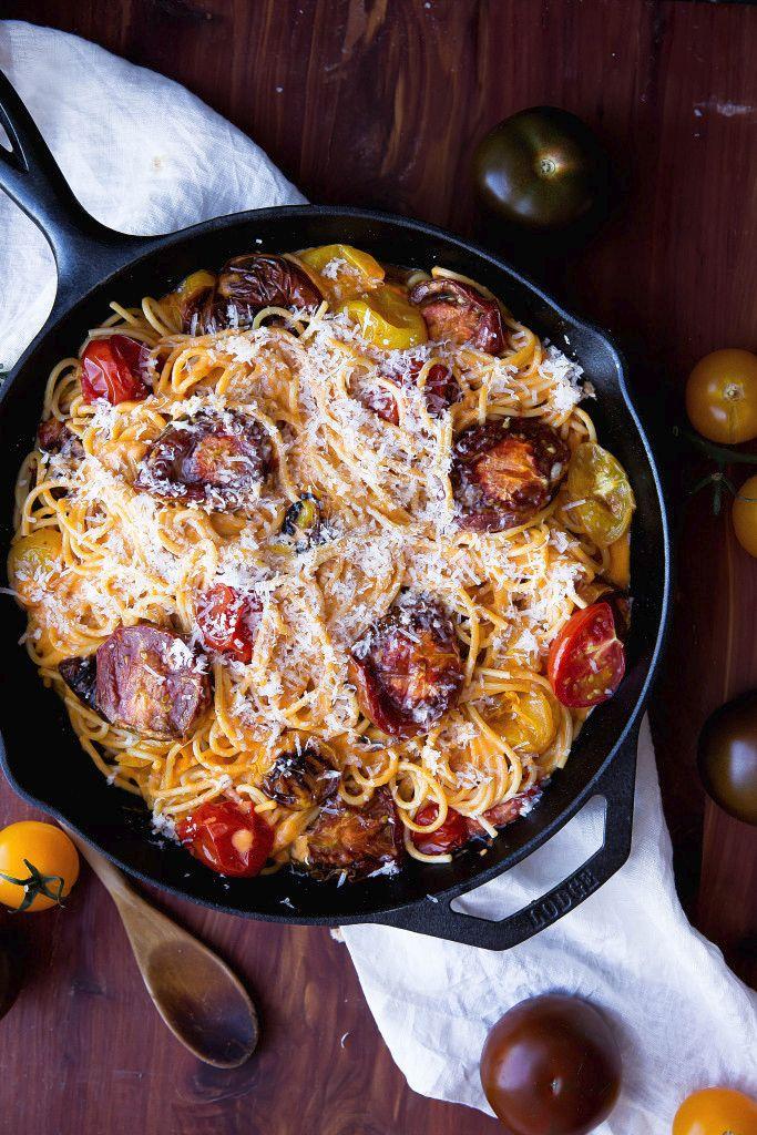 Spaghetti with White Wine & Roasted Tomato Cream Sauce
